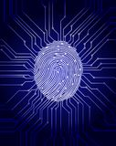 Fingerprint scanning, digital biometric security system, data protection, dark blue background, vector illustration.  Stock Photography