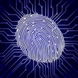 Fingerprint scanning, digital biometric security system, data protection, dark blue background, vector illustration.  Stock Photos