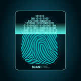 Fingerprint scanning - digital biometric security system, data protection. System of fingerprint scanning - security devices, access Stock Photo