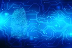 Fingerprint Scanning on digital screen, Security background. Security concept: fingerprint Scanning on digital screen, Internet Security Background Vector Illustration