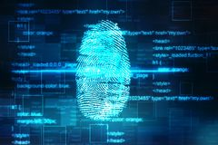 Fingerprint Scanning on digital screen, Security background. Security concept: fingerprint Scanning on digital screen, Internet Security Background Royalty Free Stock Photography
