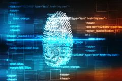 Fingerprint Scanning on digital screen, Security background. Security concept: fingerprint Scanning on digital screen, Internet Security Background Stock Photo