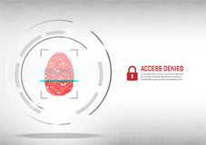 Fingerprint scanning on digital white background. Cyber Security Concept : fingerprint scanning on digital white background Stock Image