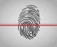 Fingerprint scanning. Icon with red laser line Stock Photography