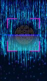Fingerprint Scanning Identification System. Biometric Authorization and Business Security Concept. Scanning Identification System. Abstract digital conceptual royalty free illustration
