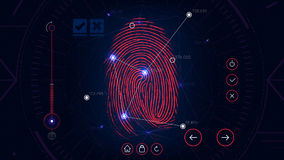 Fingerprint scanning identification system, futuristic sci-fi red interface, biometric authorization technology Stock Photos