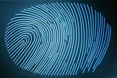 Fingerprint Scanning Identification System. Fingerprint scan provides security access with biometrics identification. 3D. Fingerprint Scanning Identification Royalty Free Stock Photo