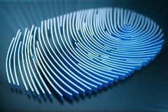 Fingerprint Scanning Identification System. Fingerprint scan provides security access with biometrics identification. 3D. Fingerprint Scanning Identification Royalty Free Stock Photos