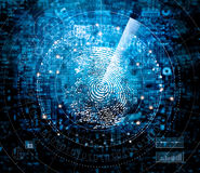 Fingerprint scanning and searching identity on blue cyber tech royalty free stock image