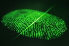 Fingerprint scanning for secure access. 3D rendering. Fingerprint scanning for secure access, 3D rendering Stock Images