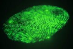 Fingerprint scanning for secure access. 3D rendering. Fingerprint scanning for secure access, 3D rendering Stock Image