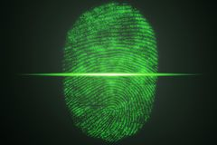 Fingerprint scanning for secure access. 3D rendering. Fingerprint scanning for secure access, 3D rendering Stock Photo