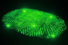 Fingerprint scanning for secure access. 3D rendering. Fingerprint scanning for secure access, 3D rendering Royalty Free Stock Photography