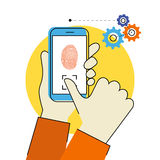 Fingerprint scanning on smartphone. Flat contour illustration of identification of fingerprint on smartphone Stock Photos