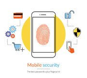 Fingerprint scanning on smartphone Stock Images