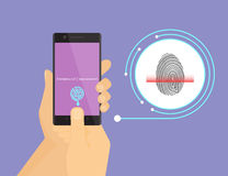 Fingerprint scanning on smartphone. Illustration of digital fingerprint identification on smartphone Stock Photography