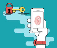 Fingerprint scanning on smartphone. Illustration of identification of fingerprint on smartphone. Human line contour hand holds a smartphone and doing fingerprint Royalty Free Stock Image