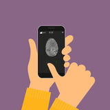 Fingerprint scanning on smartphone. Vector illustration of identification of fingerprint on smartphone Royalty Free Stock Images