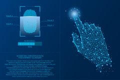 Fingerprint scanning system. Biometric Identification technology concept. Analysis of digital finger-print password. Vector. Fingerprint scanning system Stock Photos