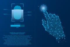 Fingerprint scanning system. Biometric Identification technology concept. Analysis of digital finger-print password. Vector. Stock Photos