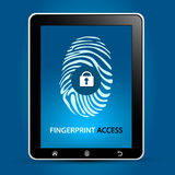 Fingerprint Scanning Tablet. Device Concept Stock Image