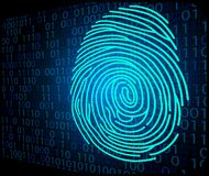 Fingerprint scanning technology background binary code. Illustration of Fingerprint scanning technology background binary code Royalty Free Stock Images