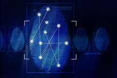 Fingerprint Scanning Technology. Concept Illustration. Fingerprint Searching Software. Identity Check Stock Photos