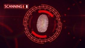 Fingerprint scanning technology. 3D rendering of Fingerprint scanning technology. Red color Stock Images