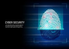 Fingerprint scanning vector on digital background. Cyber Security Concept : fingerprint scanning vector on digital background Royalty Free Stock Image