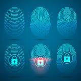 Fingerprint scanning. Vector illustration. Security system. Fingerprint scanning. Vector illustration. Security system or Digital lock Stock Image