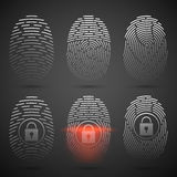 Fingerprint scanning. Vector illustration. Security system. Stock Images