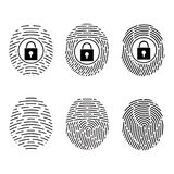 Fingerprint scanning. Vector Security system. Digital lock Stock Photos