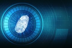 Fingerprint Security Background in technology background. Security concept: fingerprint Scanning on digital screen. cyber security Concept. 3d render stock illustration