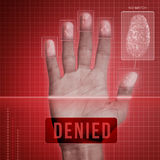 Fingerprint Security - Denied. Futuristic fingerprint scanning device - biometric security system Stock Photo