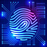 Fingerprint security system. Eps10. Transparency used. RGB. Organized by layers. Global colors. Gradients used Royalty Free Stock Images