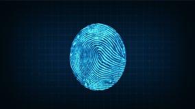 Fingerprint sensor working process stock illustration