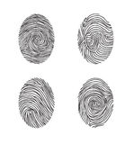 Fingerprint set. Abstract lswirl line decor elements with finger. S print Royalty Free Stock Photography