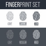 Fingerprint. Set of Fingerprints Icons for Security ID on Dark and White Background Stock Images
