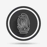 Fingerprint sign icon. Identification symbol. Fingerprint sign icon. Identification or authentication symbol. Circle flat button with shadow and border. Vector Stock Photo