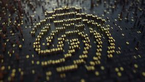 Fingerprint sign made of fluctuating golden numbers. Digital identity, electonic ID or personal data concepts. 3D. Fingerprint sign made of fluctuating golden Royalty Free Stock Images