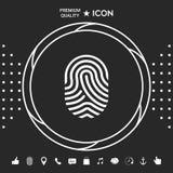 fingerprint Skanująca palcowa ikona Graficzni elementy dla twój designt ilustracja wektor