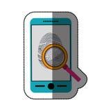 Fingerprint and smartphone design. Fingerprint and smartphone icon. Identity security print and privacy theme. Isolated design. Vector illustration Stock Photo