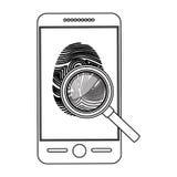 Fingerprint and smartphone design. Fingerprint and smartphone icon. Identity security print and privacy theme. Isolated design. Vector illustration Stock Photos