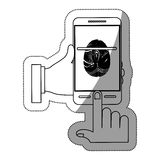 Fingerprint and smartphone design. Fingerprint and smartphone icon. Identity security print and privacy theme. Isolated design. Vector illustration Royalty Free Stock Photos