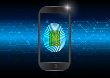 Fingerprint on smartphone electric blue background. Illustration Stock Images
