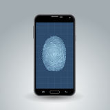 Fingerprint on smartphone. Illustration of scanned fingerprint on a smartphone screen Royalty Free Stock Images