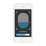 Fingerprint on smartphone. Royalty Free Stock Photo