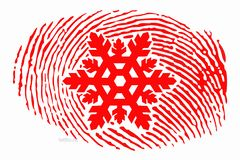 Fingerprint with a snowflake in the center vector illustration