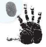 Fingerprint on a sticker. Fingerprint on the sticker and handprint. Vector illustration Stock Photos