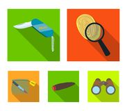 A fingerprint study, a folding knife, a cigar detective, a crime weapon tool in the package. Crime and detective set. Collection icons in flat style vector Royalty Free Stock Photos